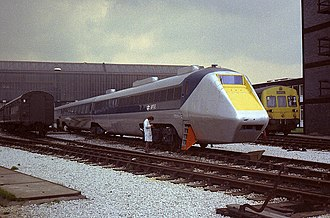 Advanced Passenger Train - APT-E in the RTC sidings between tests in the summer of 1972