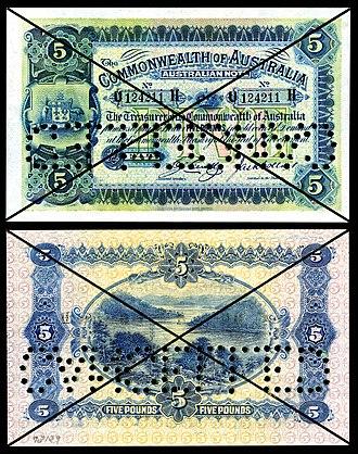 Australian five-pound note - Image: AUS 5c Commonwealth of Australia 5 Pounds (1918)