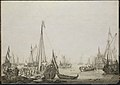 A Dutch Bezan Yacht and many other Vessels in a Crowded Harbour beside a Tavern RMG L9566.jpg