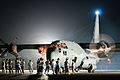 A U.S. Air Force EC-130H Compass Call aircraft assigned to the 43rd Expeditionary Electronic Combat Squadron prepares to take off from an undisclosed base in Southwest Asia Aug. 29, 2010 100829-F-VT419-442.jpg