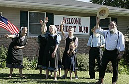 A group of Amish and Mennonite residents wave to President George W. Bush in Lancaster.jpg