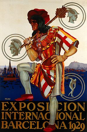 1929 Barcelona International Exposition - Poster featuring a man wearing 16th century  costume with the coats of arms of  Spanish Kingdoms
