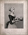 A pretty maid carrying drinking chocolate on a tray. Stipple Wellcome V0019239.jpg
