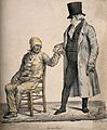 A rich physician feels the pulse of a poor, sick patient; he Wellcome V0011748.jpg
