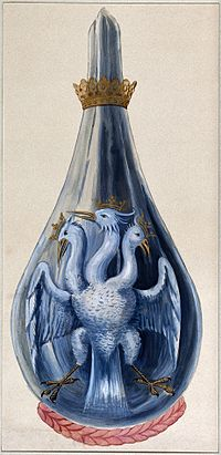 A three-headed eagle in a crowned alchemical flask, represen Wellcome V0025636.jpg