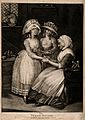 A woman doctor bandaging a young woman's hand. Mezzotint, 17 Wellcome V0016021.jpg