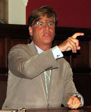 Aaron Sorkin speaking at the Oxford Union