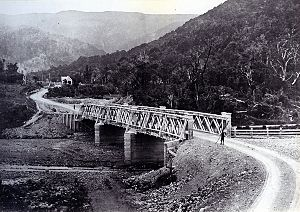 Rimutaka Range - Abbots creek toll bridge on the Rimutaka road in 1875