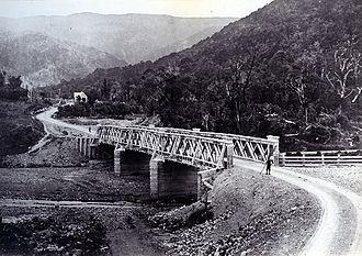 Rimutaka Range - Abbots creek toll bridge on the Rimutaka road in 1875