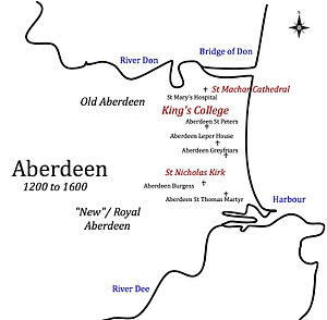 """Hospitals in medieval Scotland - Hospitals in Old Aberdeen and """"New"""" Aberdeen - 1200 to 1600"""