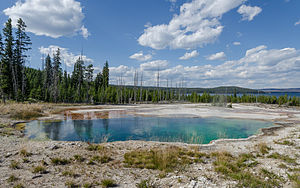 Abyss Pool - Image: Abyss Pool, Yellowstone National Park, South view 20110818 1