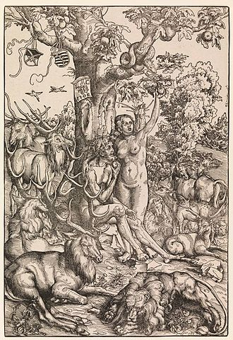 Lucas Cranach the Elder - Adam and Eve woodcut.