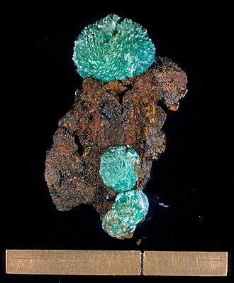 Adamite - Adamite on limonite from the Gold Hill District Tooele County, Utah, USA - Scale at bottom is approx. 2.5 cm.