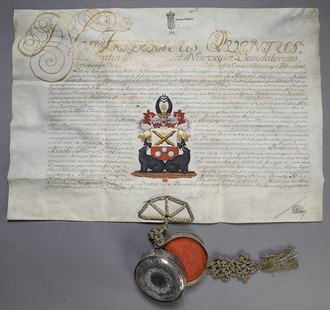 Briefadel - Letter of nobility from 1755 to the Munthe af Morgenstierne family of the Danish and Norwegian nobility.