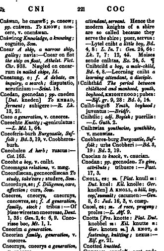 An Anglo-Saxon Dictionary - A page from the 1838 edition of Bosworth's Dictionary