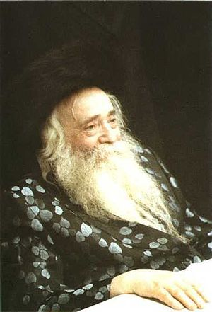 Bekishe - Rabbi Yekusiel Yehudah Halberstam  wearing a Tish Bekishe