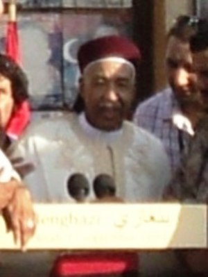 Ahmed al-Senussi - Ahmed al-Senussi (in the middle) meets the people at Benghazi.