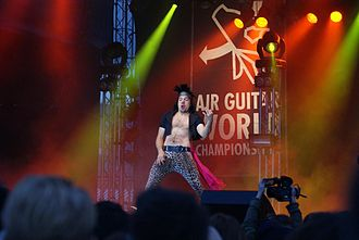"""Air guitar - Kevin """"Narvalwaker"""" Leloux at the 2010 Air Guitar World Championships in Oulu, Finland"""