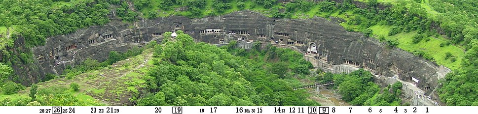 Ajanta caves full panorama with cave numbers