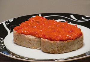 Ajvar - Open sandwich with home-made ajvar