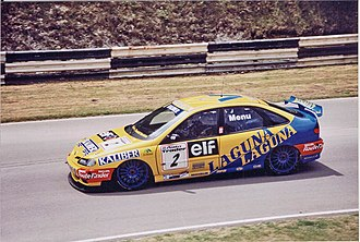 Alain Menu - Menu driving for Renault in the 1996 British Touring Car Championship season.