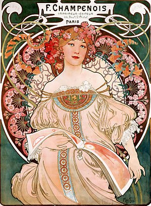 Alphonse Mucha - Dreaming (Reverie), lithograph, 1897