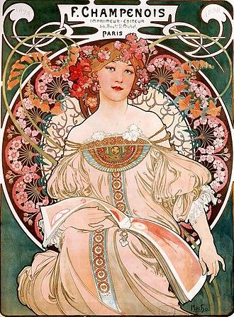 Alphonse Mucha - Dreaming (Reverie), lithograph, 1897