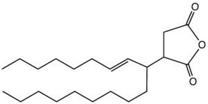 Succinic anhydride - Chemical structure of an alkylsuccinic anhydride derived from octadecene.
