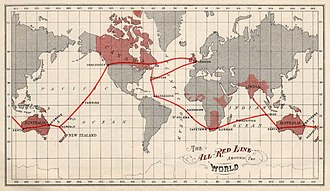 Telecommunications in Barbados - The All Red Line cable for the British Empire. Barbados(Barbadoes) functioned as an interconnection-point between Bermuda and Ascension Island in the Atlantic Ocean. c.a. 1903