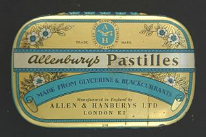 "Allen & Hanburys - Later design of tin for ""Allenburys"" blackcurrant pastilles"