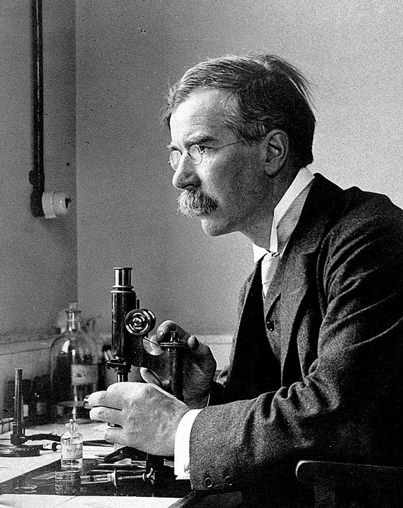 Almroth Edward Wright developed the first effective typhoid vaccine. Almroth Wright c1900.jpg