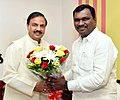 Amar Kumar Bauri meeting the Minister of State for Culture and Tourism (Independent Charge), Dr. Mahesh Sharma, in New Delhi.jpg