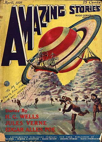 Amazing Stories - First issue of Amazing Stories, art by Frank R. Paul. This copy was autographed by Hugo Gernsback in 1965