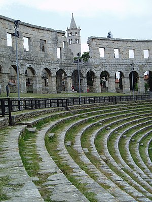Inside part of the Ancient Roman amphitheatre ...