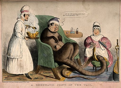 An ill creature with a human head and long tail is seated is seated in a chair being treated by two nurses Wellcome V0011361
