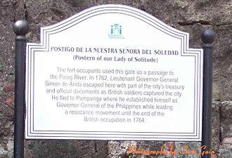 British occupation of Manila - Sign at Fort Santiago, Manila, marking the departure point of Simón de Anda y Salazar.