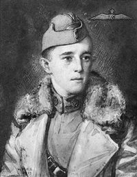 An artistic portrait of a young man in military uniform. He is wearing a cap and a large coat. The background has a dark shading and an aviators badge is in the top right corner.