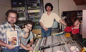 Andy Richards - Richards (centre) with producer Peter Collins (left), Julian Mendelsohn (2nd left) and J. J. Jeczalik (right) in Sarm East Studios, London. 1984. Photograph c/o Andy Kinch.
