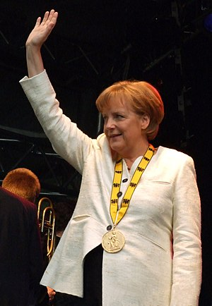 Charlemagne Prize - Angela Merkel with the 2008 prize medal around her neck