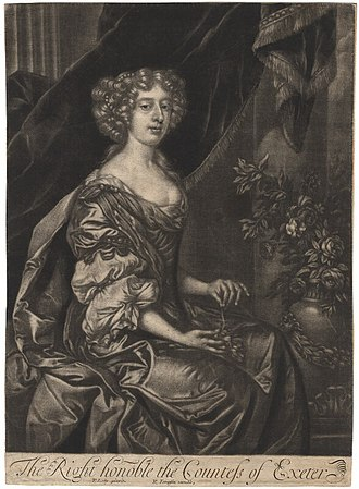 John Cecil, 5th Earl of Exeter - Anne, Countess of Exeter, wife of the 5th Earl, mezzotint after Peter Lely, c. 1690