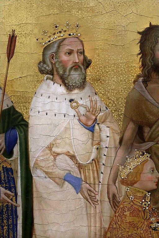 Anonimo inglese o francese, dittico wilton, 1395-99 ca. 03 edoardo il confessore