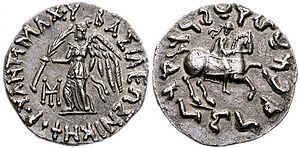 Antimachus II - Coin of Antimachus II. Obv: Nike with Greek legend BASILEOS NIKEPHOROU ANTIMACHOU. King on horse, with Kharoshti legend.