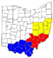 Counties in Appalachian Ohio are colored as fo...