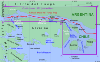 Beagle Channel Arbitration - Borderline (red line) through the Beagle Channel according to the arbitral award