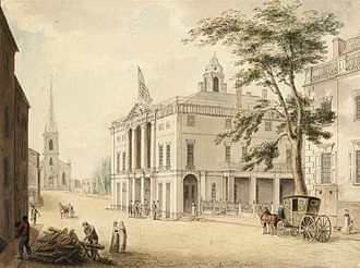 "Federal Hall - Archibald Robertson's ""View up Wall Street"" looking west with the old second  City Hall (Federal Hall) on the right and Trinity Church (Episcopal) in the distance, New York City, from around 1798"