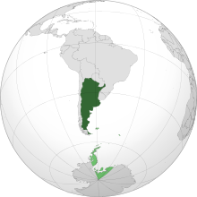 Argentina shown in dark green, with territorial claims shown in light green.