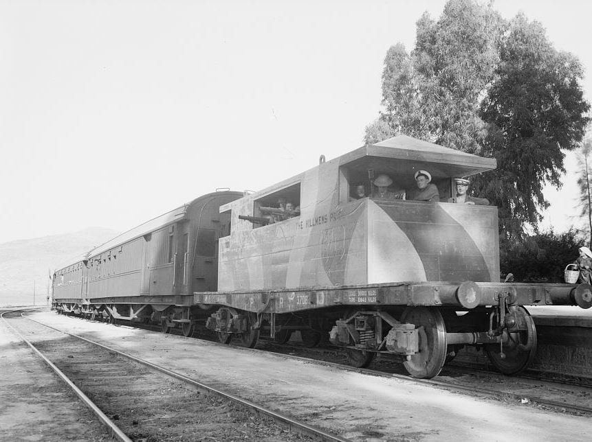 Armoured concrete coach escorting passenger train