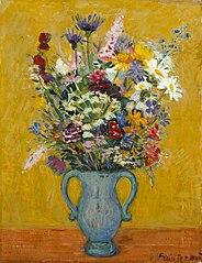 Alpine flowers and amphora