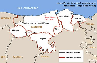 Asturias de Santillana - Territorial division of large and small royal political merindades during the Later Middle Age.