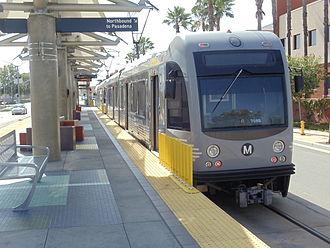 Gold Line (Los Angeles Metro) - Metro Gold Line AnsaldoBreda P2550 train  at Atlantic Station